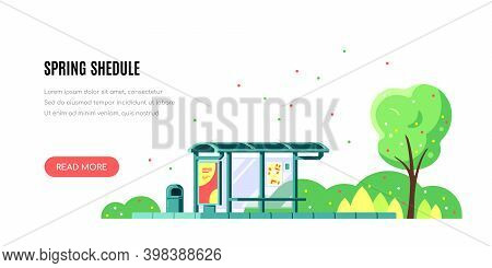Landscape With Bus Stop, Spring Shedule, Flas Style Vector