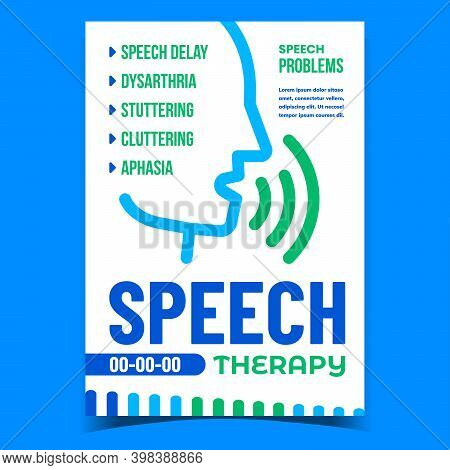 Speech Therapy And Problem Promo Poster Vector. Speech Delay And Dysarthria, Stuttering, Cluttering