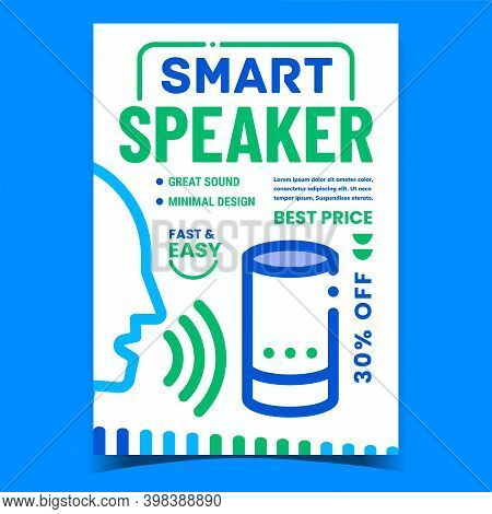 Smart Speaker Gadget Promotional Poster Vector. Human Voice Controlled Smart System Device Advertisi