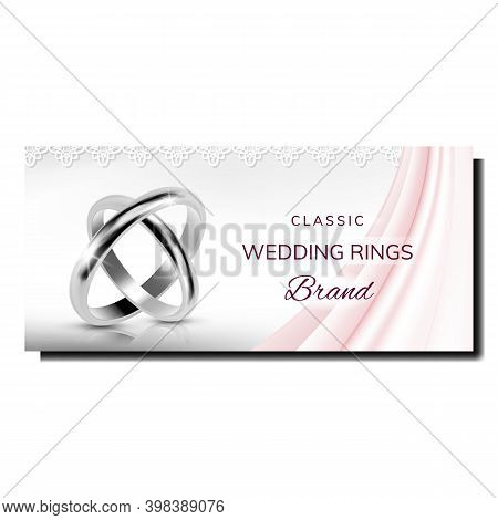 Wedding Rings Sale Creative Promo Poster Vector. Platinum Or Silver Classic Rings On Elegant Adverti