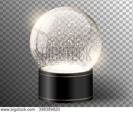 Black Vector Snow Globe Empty Template Isolated On Transparent Background. Christmas Magic Ball. Yel