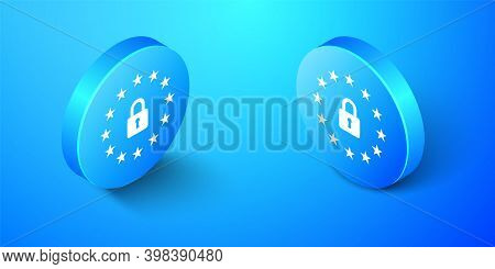 Isometric Gdpr - General Data Protection Regulation Icon Isolated On Blue Background. European Union