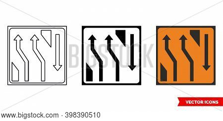 Two Lane Crossover Back Roadworks Sign Icon Of 3 Types Color, Black And White, Outline. Isolated Vec