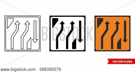 Two Lane Crossover Out Roadworks Sign Icon Of 3 Types Color, Black And White, Outline. Isolated Vect