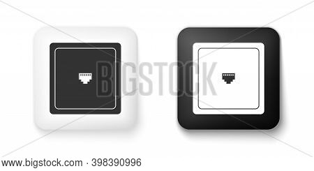 Black And White Ethernet Socket Sign. Network Port - Cable Socket Icon Isolated On White Background.