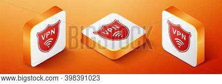 Isometric Shield With Vpn And Wifi Wireless Internet Network Icon Isolated On Orange Background. Vpn