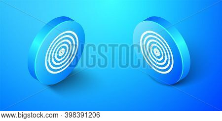 Isometric Target Sport For Shooting Competition Icon Isolated On Blue Background. Clean Target With