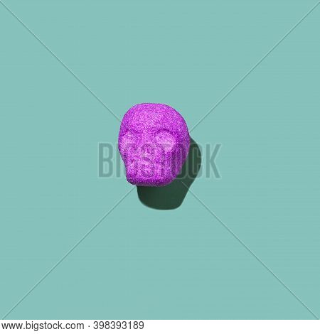 Purple Sugary Candy Skull On A Green Background. Square Image