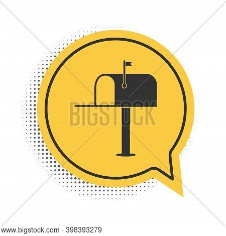 Black Open Mail Box Icon Isolated On White Background. Mailbox Icon. Mail Postbox On Pole With Flag.