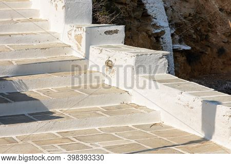 Path To The Agia Irini, Saint Irene, Greek Orthodox Church. Ios Island, Greece.