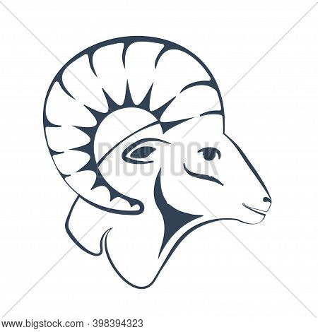 A Ram Head Profile With A Large Horn. Side View. Hand Drawn Zodiac Astrology Symbol Of The Sheep. Ar