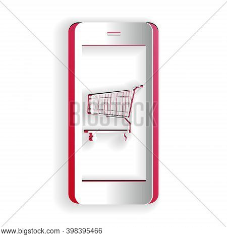 Paper Cut Online Shopping Concept. Shopping Cart On Screen Smartphone Icon Isolated On White Backgro
