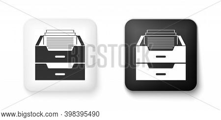 Black And White Drawer With Documents Icon Isolated On White Background. Archive Papers Drawer. File