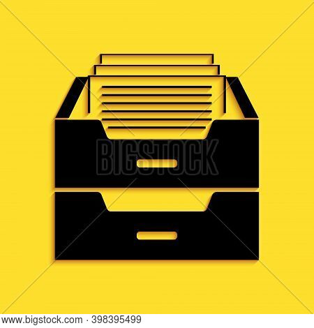 Black Drawer With Documents Icon Isolated On Yellow Background. Archive Papers Drawer. File Cabinet