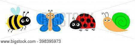 Snail Cochlea, Bee Bumblebee, Butterfly, Lady Bug Ladybird Flying Insect Icon Set. Cute Cartoon Kawa