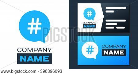 Logotype Hashtag In Circle Icon Isolated On White Background. Social Media Symbol, Concept Of Number