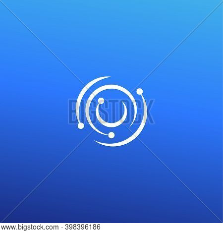 Whirlpool Logo Concept. Hurricane Isolated Icon On Blue Background. Retina Scan For Business And Dev