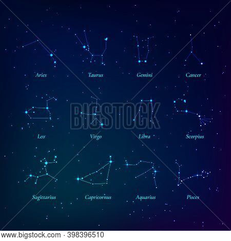 Zodiac Signs. Constellations Of The Zodiac. Constellations Lying In The Plane Of The Ecliptic. Vecto