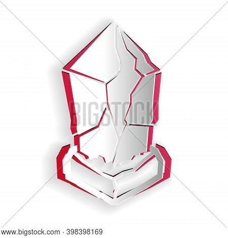 Paper Cut Cryptocurrency Coin Ethereum Classic Etc Icon Isolated On White Background. Digital Curren