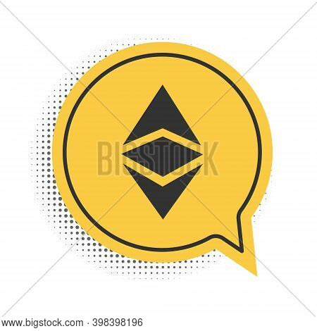 Black Cryptocurrency Coin Ethereum Classic Etc Icon Isolated On White Background. Digital Currency.