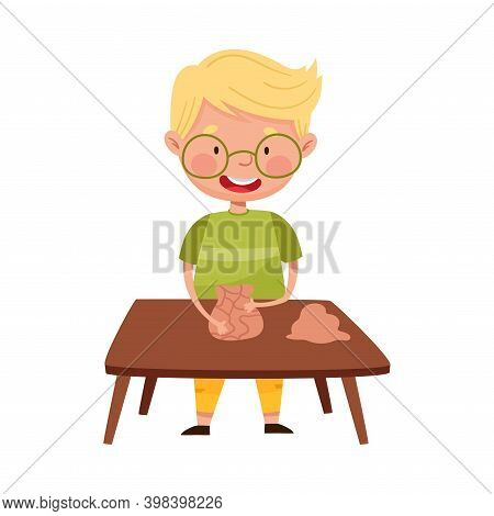 Little Boy In Glasses Standing At Table And Moulding Clay Vector Illustration