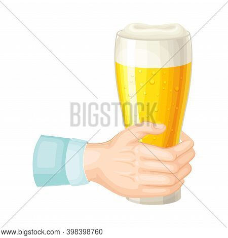 Glass With Lager Beer With Foam Hold By Human Hand Vector Illustration