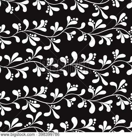 Vector Seamless Pattern With Abstract Foliate Branches; Diagonal White Twigs On Black Background; Fo