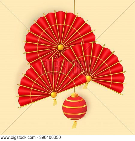 Hanging Paper Lantern, Paper Fans And Traditional Red Umbrella. Oriental Holiday Lunar New Year. Vec