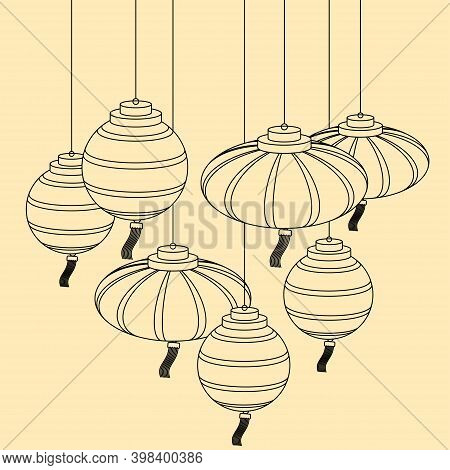 Hanging Paper Lanterns. Decor For The Chinese New Year And Lantern Festival