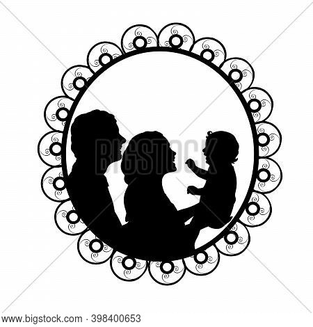 Silhouette In Frame Father And Mother Holding Baby. Illustration Symbol Icon