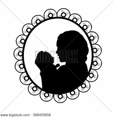 Silhouette In Frame Happy Mother Holding Newborn Little Baby. Illustration Symbol Icon