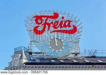 Oslo, Norway - October 29, 2016: Big Freia Clock At Building Top In Oslo, Norway.