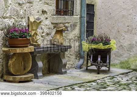 Old Houses In Oneta, Bergamo, Italy. Most Beautiful Villages In Italy.