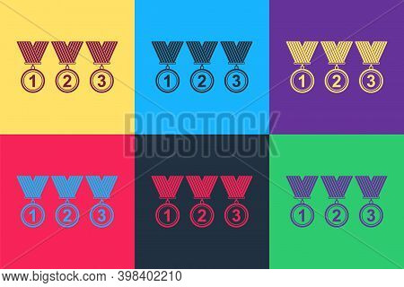 Pop Art Set Medal Icon Isolated On Color Background. Winner Simbol. Vector