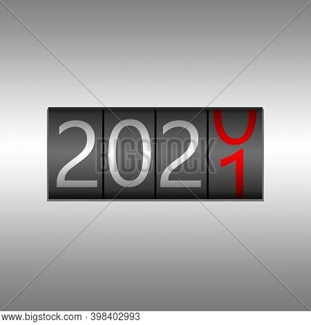 2021. New Year Black Odometer On Black Background - New Year 2020 Design, Odometer Style With White