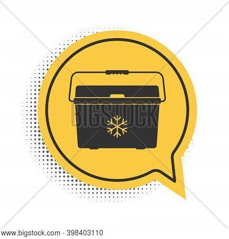 Black Cooler Bag Icon Isolated On White Background. Portable Freezer Bag. Handheld Refrigerator. Yel