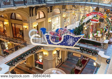 Moscow, Russia - December 4, 2020: Christmas And New Year Interior Of The Main Universal Store Gum I