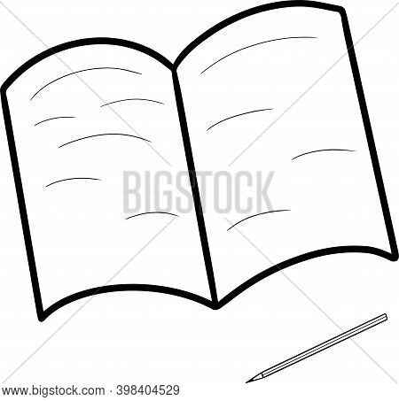 Vector Symbol Icon With Open Book Notebook Encyclopedia And Pencil Development Reading Study Study