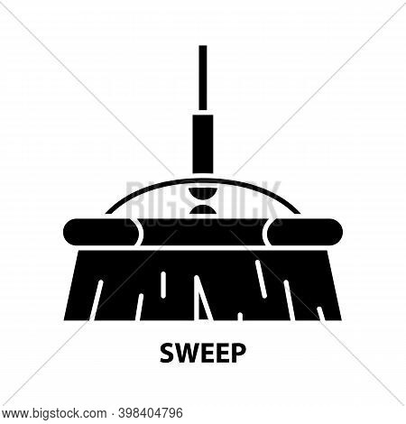 Sweep Icon, Black Vector Sign With Editable Strokes, Concept Illustration
