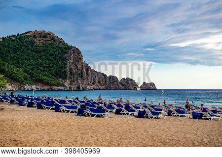 Turkey, Alanya - October 21, 2020: Kleopatra Beach In Alanya (turkey). View Of The Rocky Peninsula W