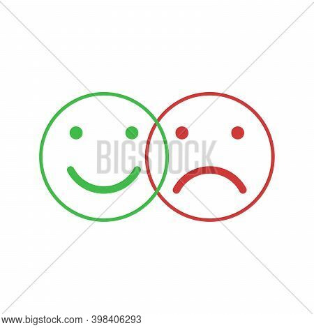Set Of Smile Emoticons Isolated On White Background. Line Icons Emoticons. Happy And Unhappy Smileys