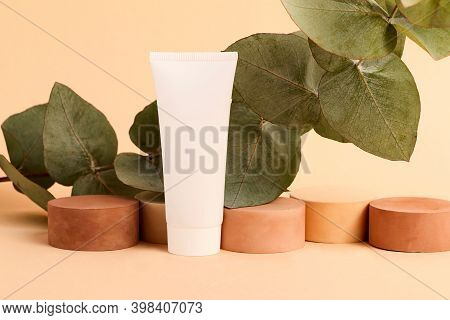 Empty Cosmetic Tube With Geometrical Empty Podiums And Fresh Eucalyptus Branch On The Background.bea