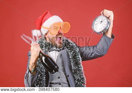 Corporate Christmas Party. Time Celebrate Winter Holiday. Boss Santa Hat Celebrate New Year Or Chris