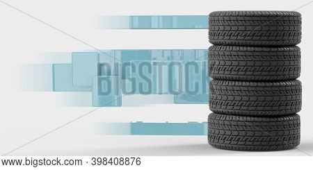 Four tires stacked on top of each other. Good graphics for use as a background or banner for a tire store, storage room, tire service. 3d illustration on white.