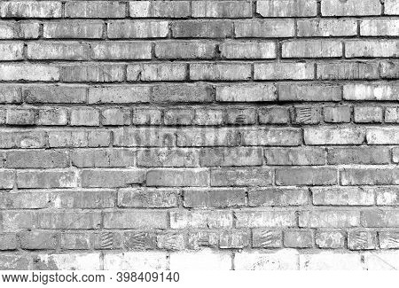 Grunge Shabby Black White Brick Wall Background. Aged Wall Texture. Weathered Brickwork. Grungy Ston