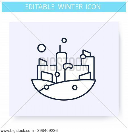 Winter City Line Icon. Snowy Landscape. Winter Walk. Falling Snowflakes. Winter Holidays And Leisure