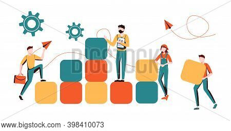 Business Concept. Team Metaphor. People Connecting The Elements Of The Columns. Vector Illustration