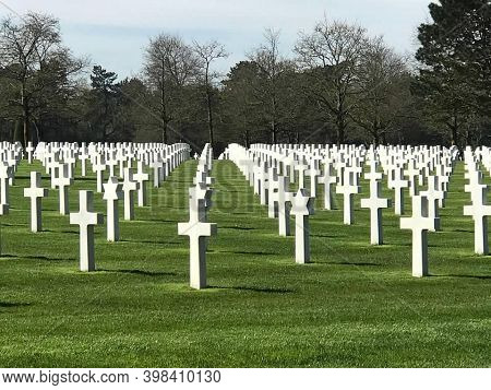 Normandy, France, April 11, 2018. The American Cemetery At Normandy.