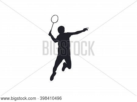 Modern Passionate Badminton Player In Action Logo. Modern Badminton Player Icon, Logo