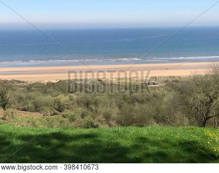 Normandy, France, April 11, 2018. The Beaches At Normandy, Site Of The Infamous D-day Invasion.